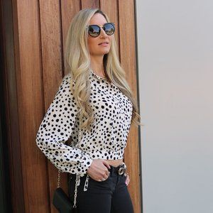 Long Sleeve Printed Button Down Blouse